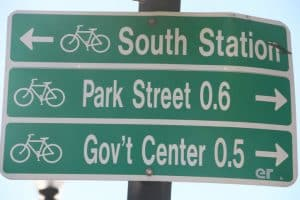 Boston street sign giving directions to various destinations