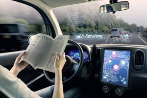 cockpit of autonomous car.