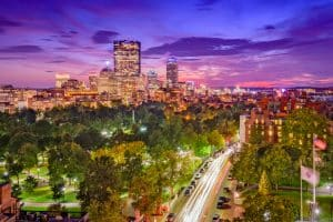 Boston, Massachusetts, cityscape with the State House.
