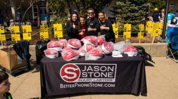 Helmet giveaway by Stone Injury Law