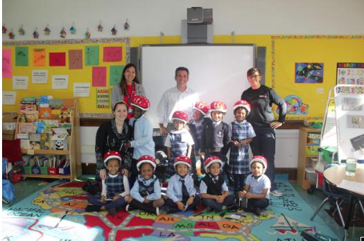 Jason Stone visiting a kindergarten
